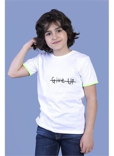 Toontoy Kids Toontoy Erkek Çocuk Arkası Baskılı Tişört Beyaz